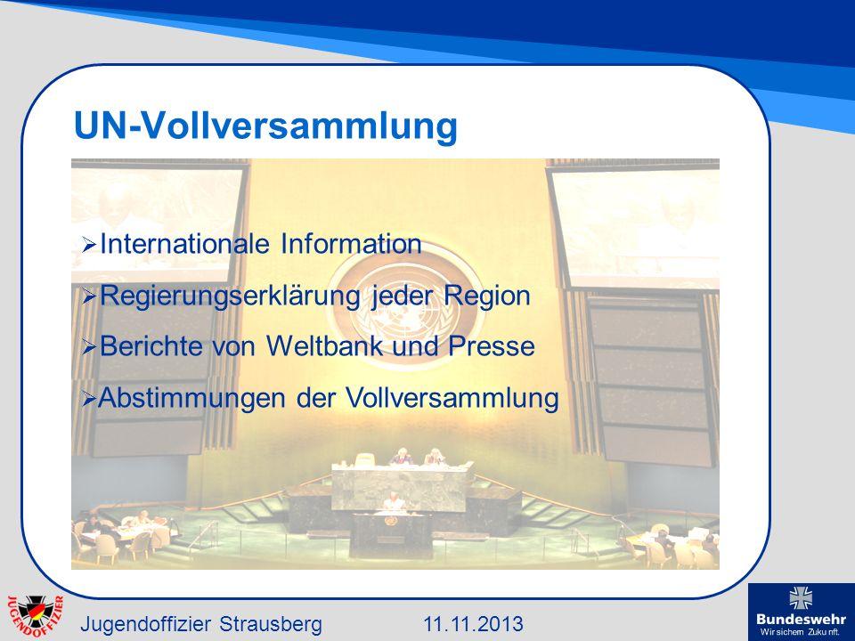 Jugendoffizier Strausberg11.11.2013 UN-Vollversammlung Internationale Information Regierungserklärung jeder Region Berichte von Weltbank und Presse Ab