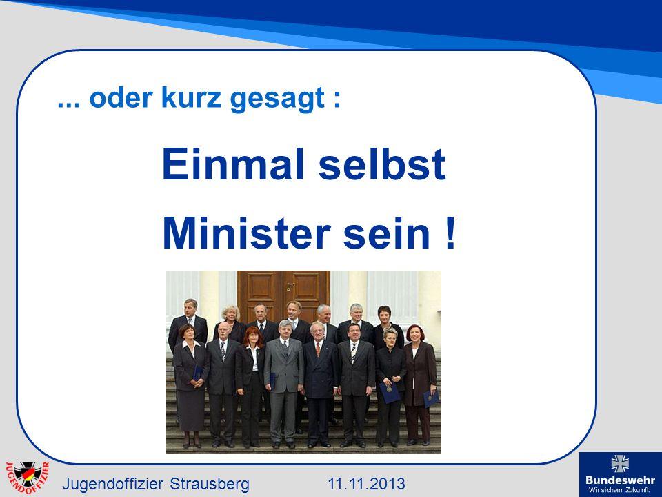 Jugendoffizier Strausberg11.11.2013... oder kurz gesagt : Einmal selbst Minister sein !