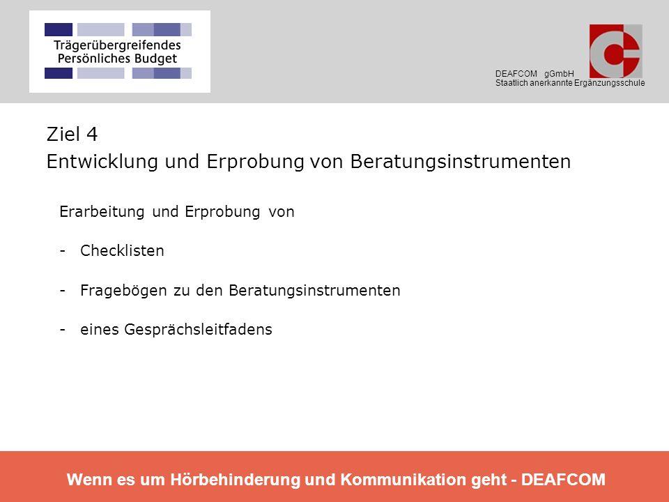Ziel 4 Entwicklung und Erprobung von Beratungsinstrumenten Erarbeitung und Erprobung von -Checklisten -Fragebögen zu den Beratungsinstrumenten -eines