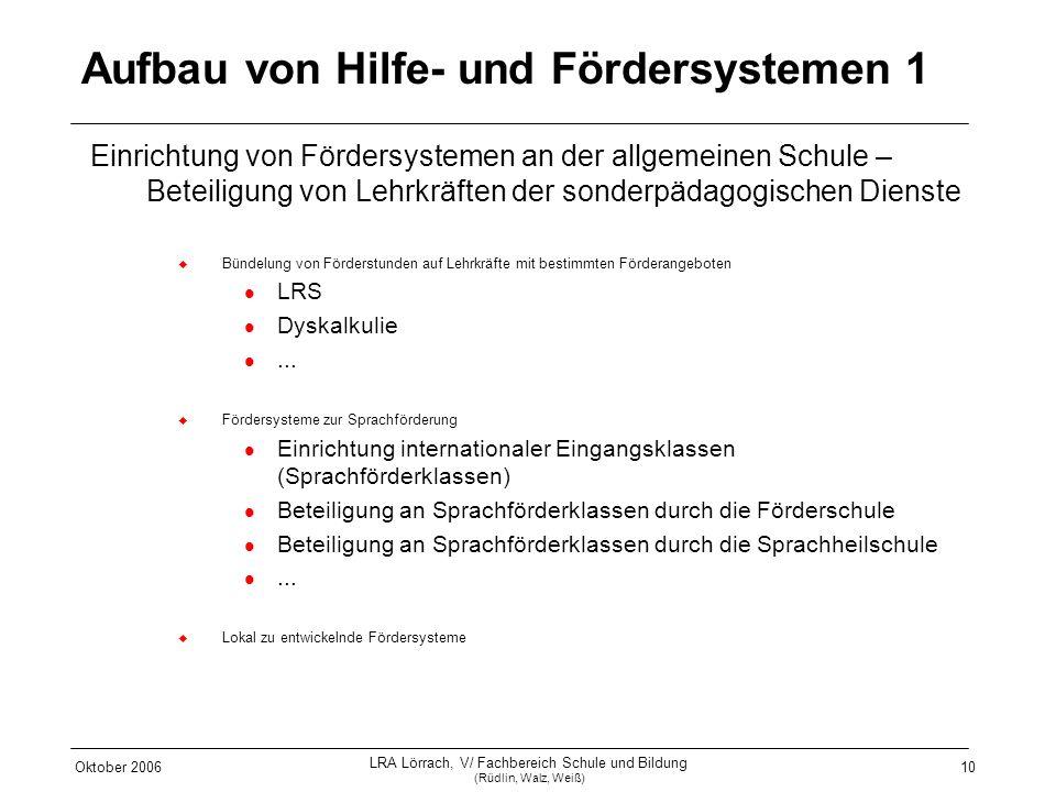 Oktober 2006 LRA Lörrach, V/ Fachbereich Schule und Bildung (Rüdlin, Walz, Weiß) 10 Aufbau von Hilfe- und Fördersystemen 1 Einrichtung von Fördersyste