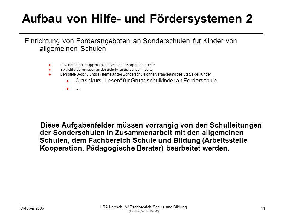 Oktober 2006 LRA Lörrach, V/ Fachbereich Schule und Bildung (Rüdlin, Walz, Weiß) 11 Aufbau von Hilfe- und Fördersystemen 2 Einrichtung von Förderangeb
