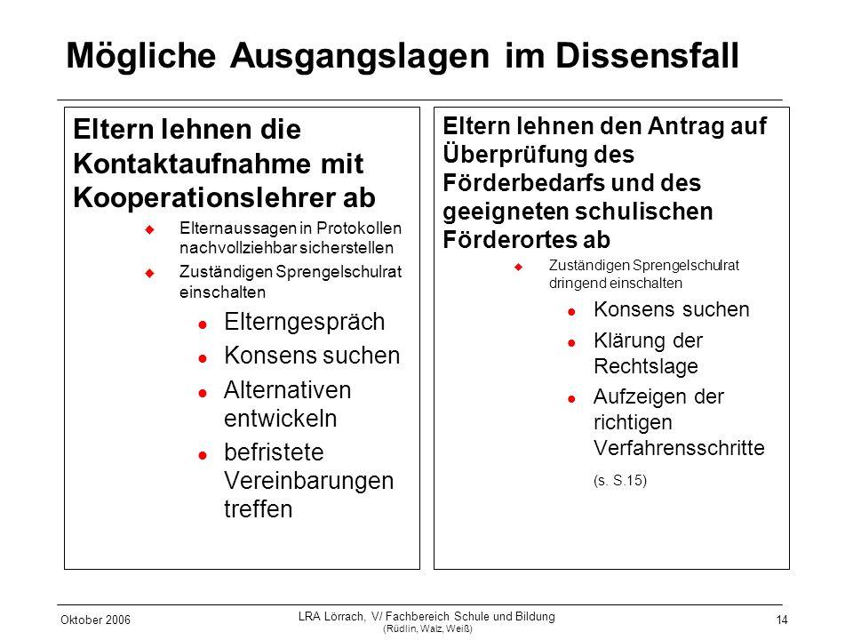 Oktober 2006 LRA Lörrach, V/ Fachbereich Schule und Bildung (Rüdlin, Walz, Weiß) 14 Mögliche Ausgangslagen im Dissensfall Eltern lehnen die Kontaktauf