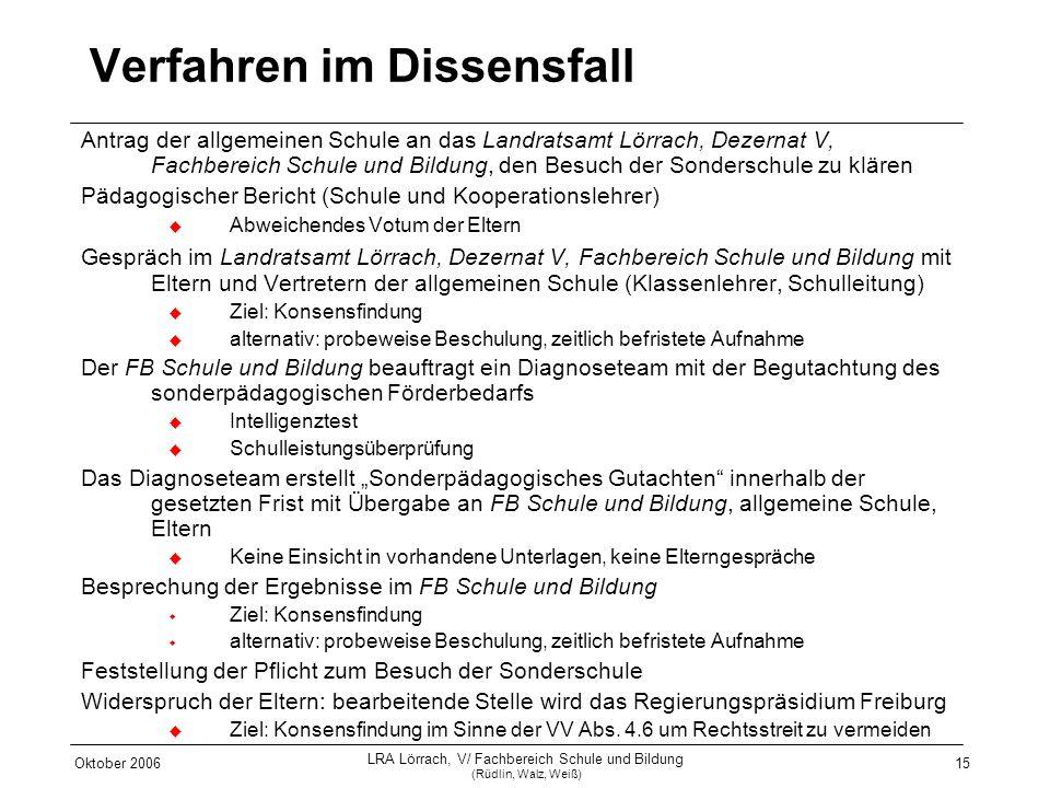 Oktober 2006 LRA Lörrach, V/ Fachbereich Schule und Bildung (Rüdlin, Walz, Weiß) 15 Verfahren im Dissensfall Antrag der allgemeinen Schule an das Land