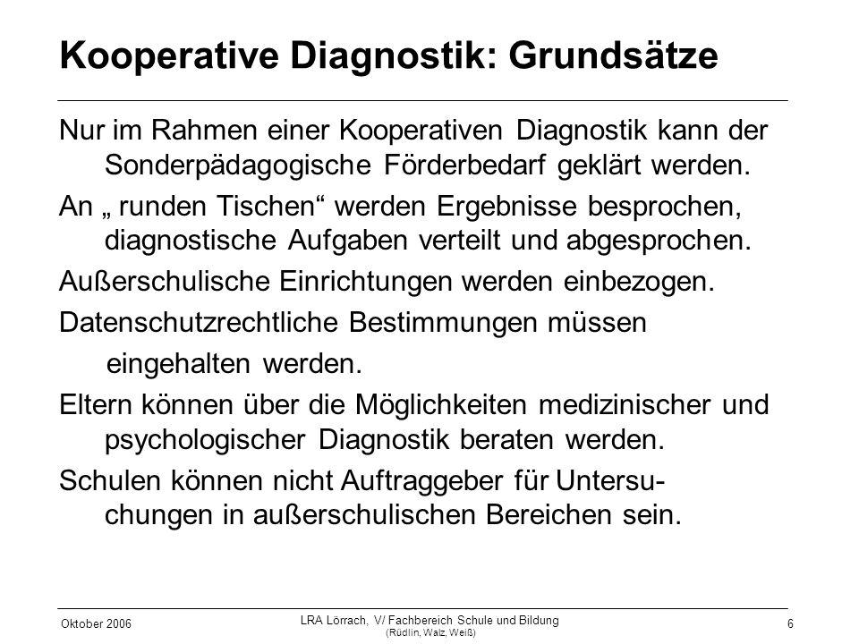 Oktober 2006 LRA Lörrach, V/ Fachbereich Schule und Bildung (Rüdlin, Walz, Weiß) 6 Kooperative Diagnostik: Grundsätze Nur im Rahmen einer Kooperativen
