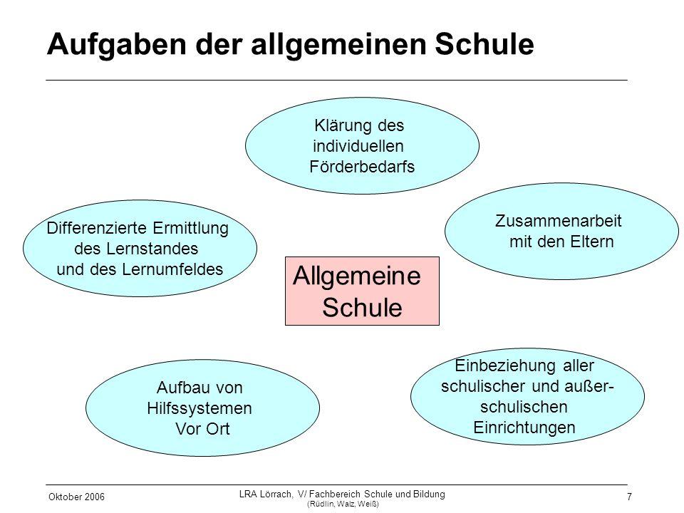 Oktober 2006 LRA Lörrach, V/ Fachbereich Schule und Bildung (Rüdlin, Walz, Weiß) 7 Allgemeine Schule Differenzierte Ermittlung des Lernstandes und des