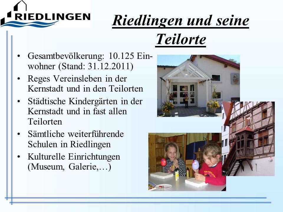 Riedlingen und seine Teilorte Gesamtbevölkerung: 10.125 Ein- wohner (Stand: 31.12.2011) Reges Vereinsleben in der Kernstadt und in den Teilorten Städt