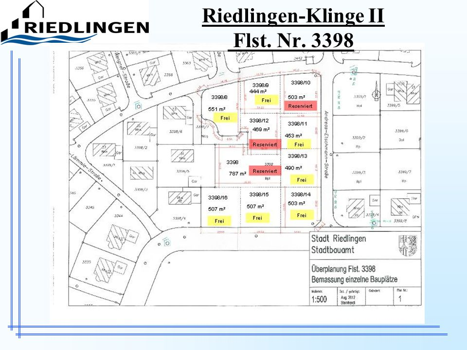 Verkaufsinformationen zu den Wohnbauplätzen in Riedlingen a)Baugebiet Klinge II Verkaufspreis pro m² Grundstücksfläche:59,00 bis 85,50 /m² –Im Bereich des Bebauungsplanes Klinge II – nördl.