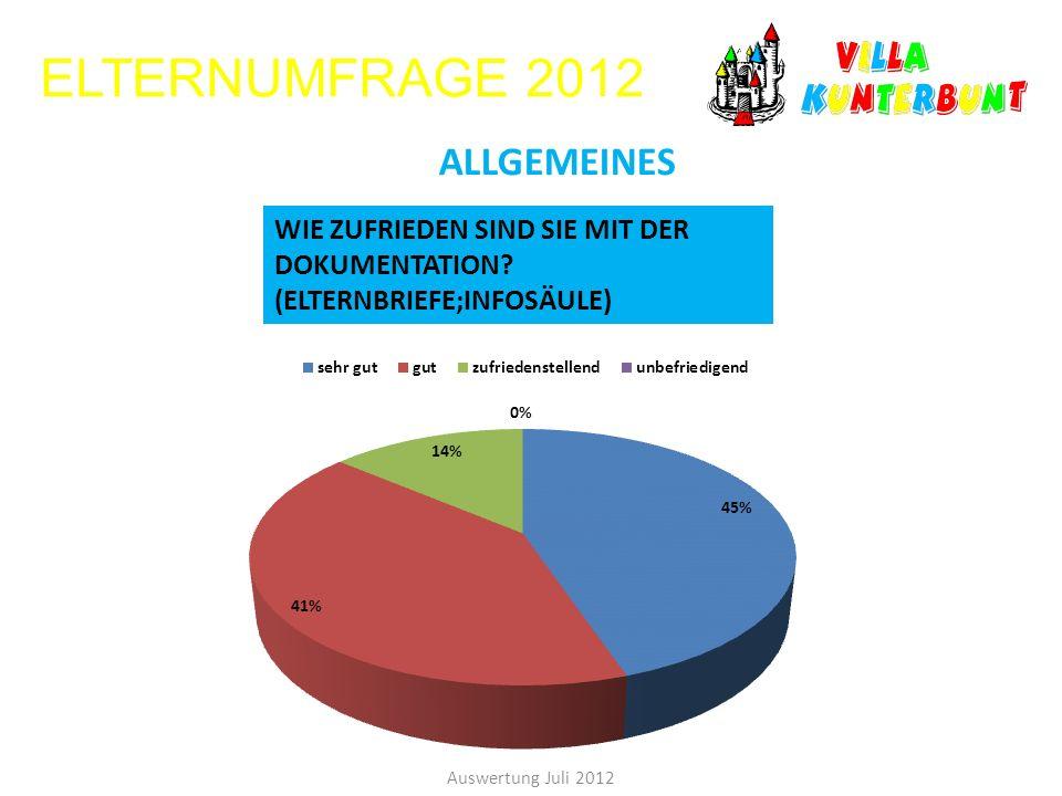 ELTERNUMFRAGE 2012 Auswertung Juli 2012 ALLGEMEINES WIE ZUFRIEDEN SIND SIE MIT DER DOKUMENTATION? (ELTERNBRIEFE;INFOSÄULE)