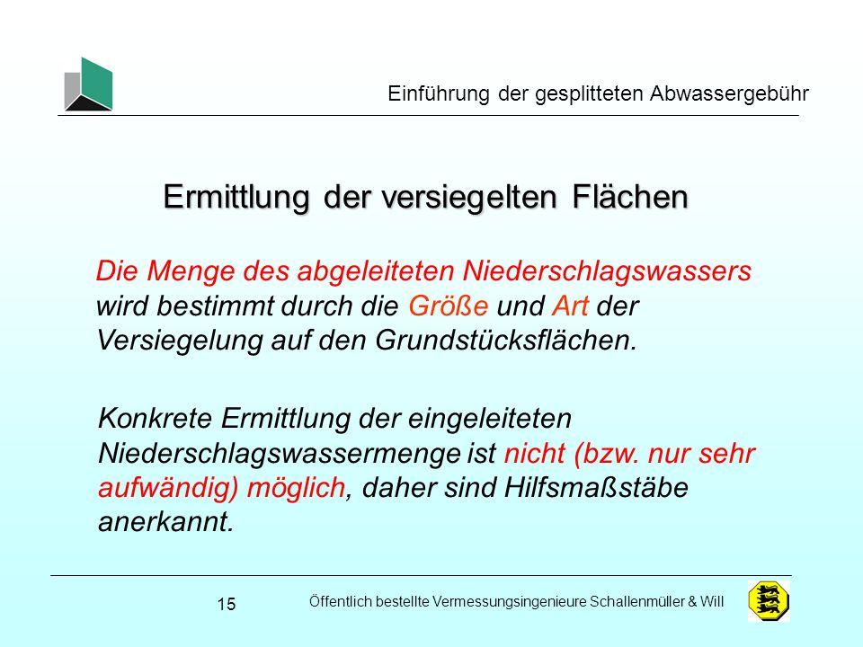 Öffentlich bestellte Vermessungsingenieure Schallenmüller & Will Einführung der gesplitteten Abwassergebühr Ermittlung der versiegelten Flächen Konkre