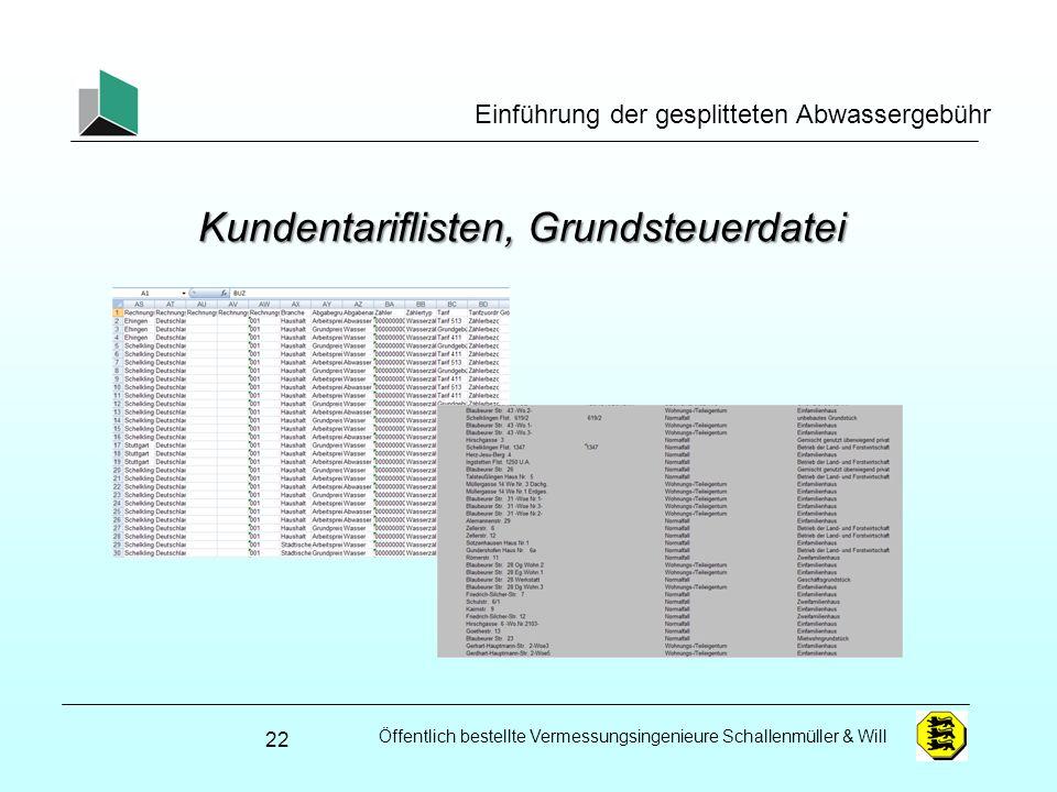 Öffentlich bestellte Vermessungsingenieure Schallenmüller & Will Einführung der gesplitteten Abwassergebühr Kundentariflisten, Grundsteuerdatei 22