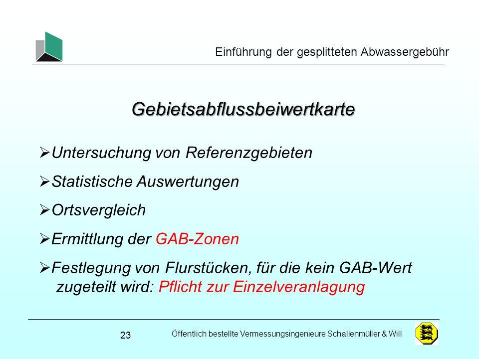 Öffentlich bestellte Vermessungsingenieure Schallenmüller & Will Einführung der gesplitteten Abwassergebühr Gebietsabflussbeiwertkarte 23 Untersuchung