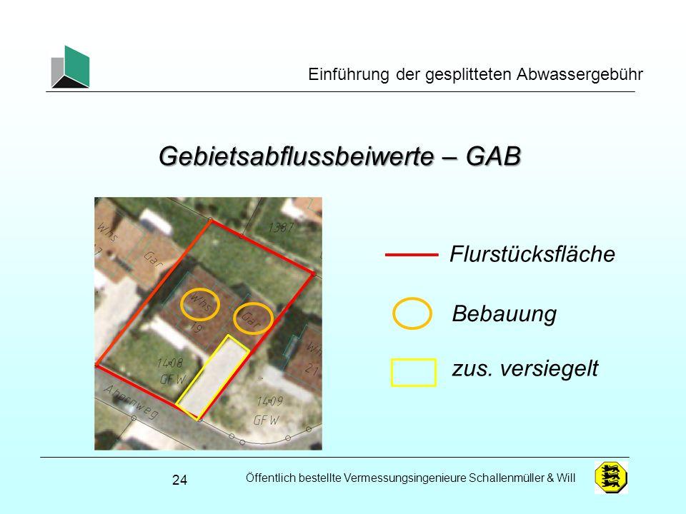 Öffentlich bestellte Vermessungsingenieure Schallenmüller & Will Einführung der gesplitteten Abwassergebühr Gebietsabflussbeiwerte – GAB 24 Flurstücks