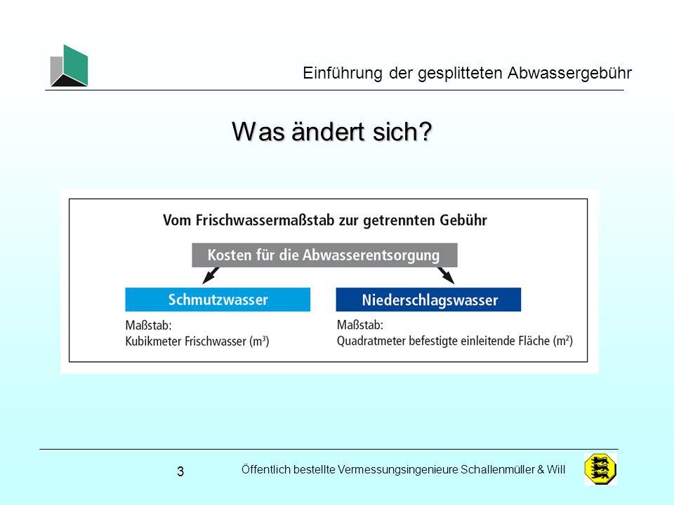 Öffentlich bestellte Vermessungsingenieure Schallenmüller & Will Einführung der gesplitteten Abwassergebühr Gebietsabflussbeiwerte – GAB 24 Flurstücksfläche Bebauung zus.