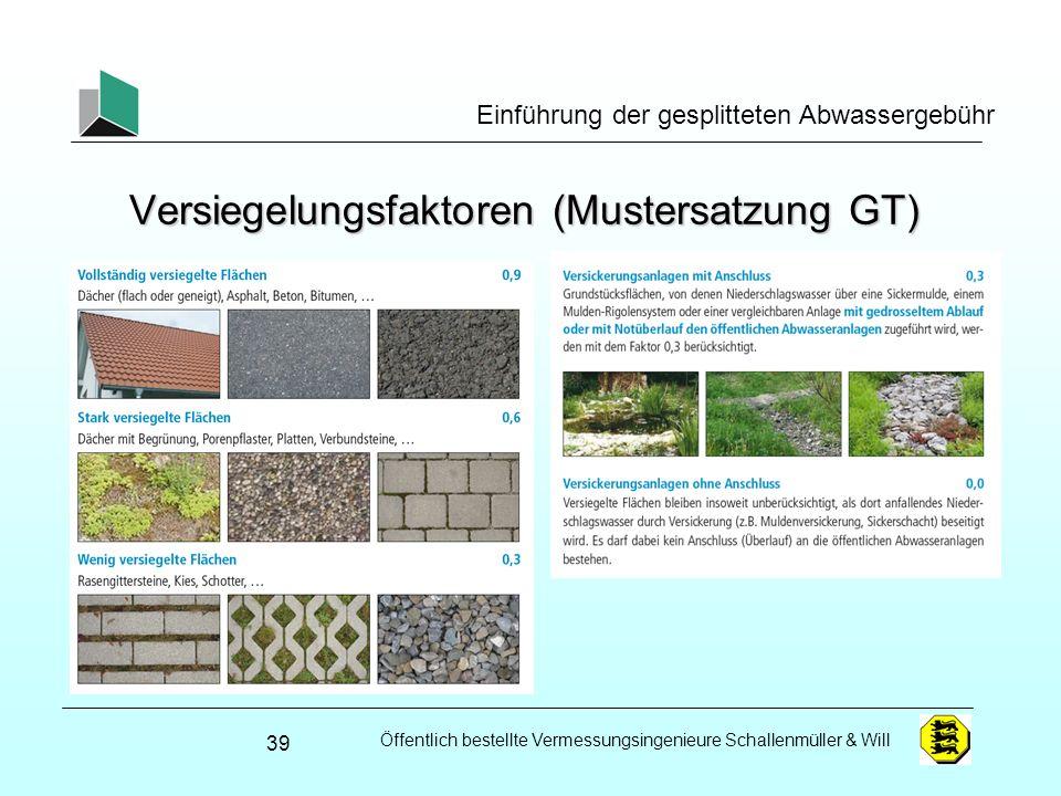 Öffentlich bestellte Vermessungsingenieure Schallenmüller & Will Einführung der gesplitteten Abwassergebühr Versiegelungsfaktoren (Mustersatzung GT) 3