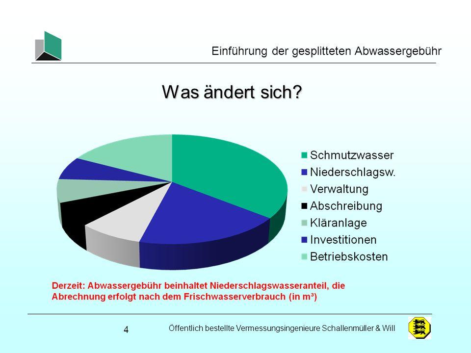 Öffentlich bestellte Vermessungsingenieure Schallenmüller & Will Einführung der gesplitteten Abwassergebühr Was ändert sich? 4