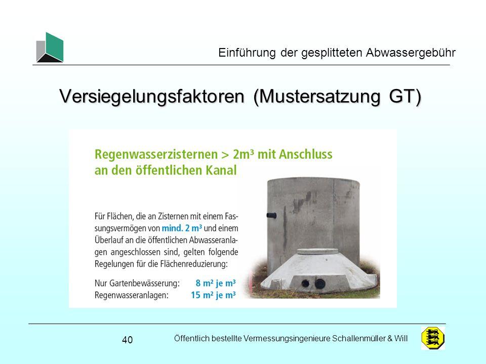 Öffentlich bestellte Vermessungsingenieure Schallenmüller & Will Einführung der gesplitteten Abwassergebühr Versiegelungsfaktoren (Mustersatzung GT) 4
