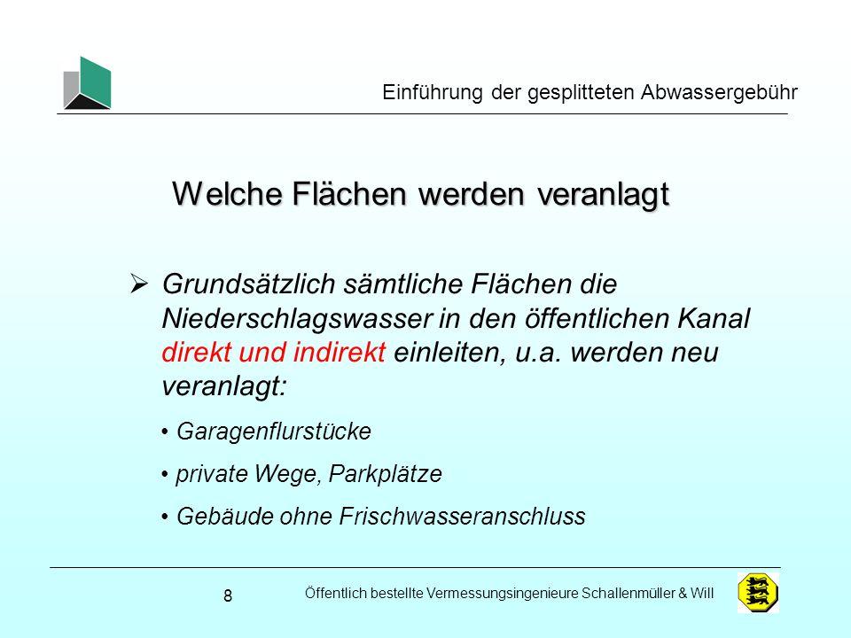 Öffentlich bestellte Vermessungsingenieure Schallenmüller & Will Einführung der gesplitteten Abwassergebühr Versiegelungsfaktoren (Mustersatzung GT) 39