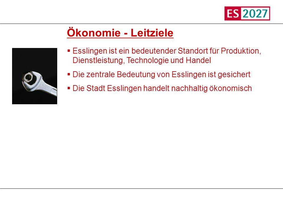 Titel Ökonomie - Leitziele Esslingen ist ein bedeutender Standort für Produktion, Dienstleistung, Technologie und Handel Die zentrale Bedeutung von Es