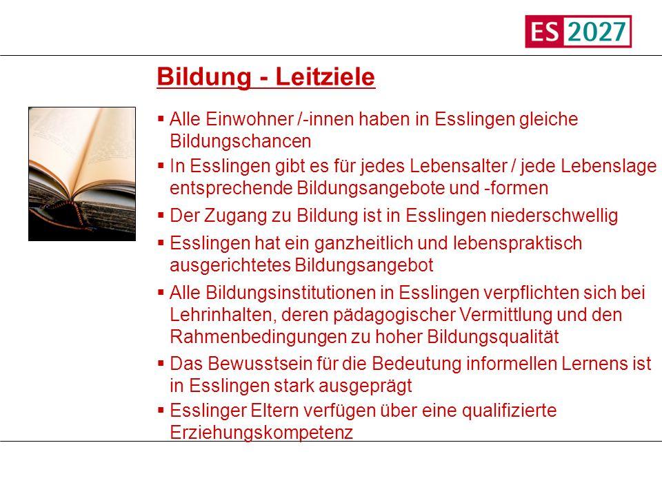 Titel Bildung - Leitziele Alle Einwohner /-innen haben in Esslingen gleiche Bildungschancen In Esslingen gibt es für jedes Lebensalter / jede Lebensla