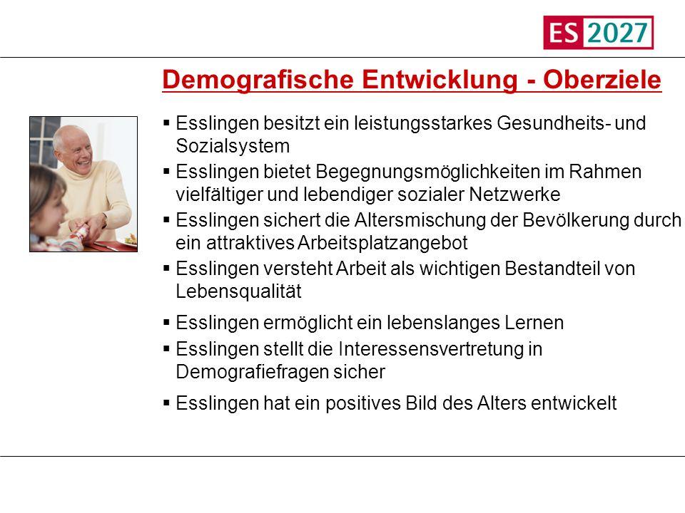 Titel Demografische Entwicklung - Oberziele Esslingen besitzt ein leistungsstarkes Gesundheits- und Sozialsystem Esslingen bietet Begegnungsmöglichkei