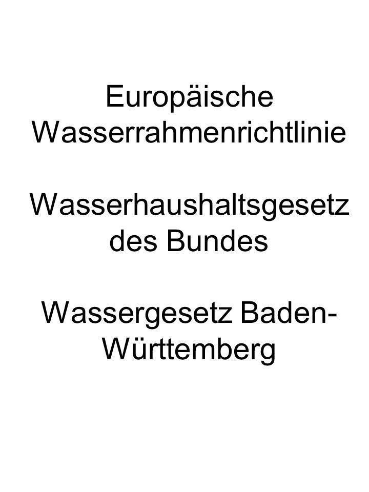 Europäische Wasserrahmenrichtlinie Die Europäische Wasserrahmenrichtlinie trat im Jahr 2000 in Kraft.