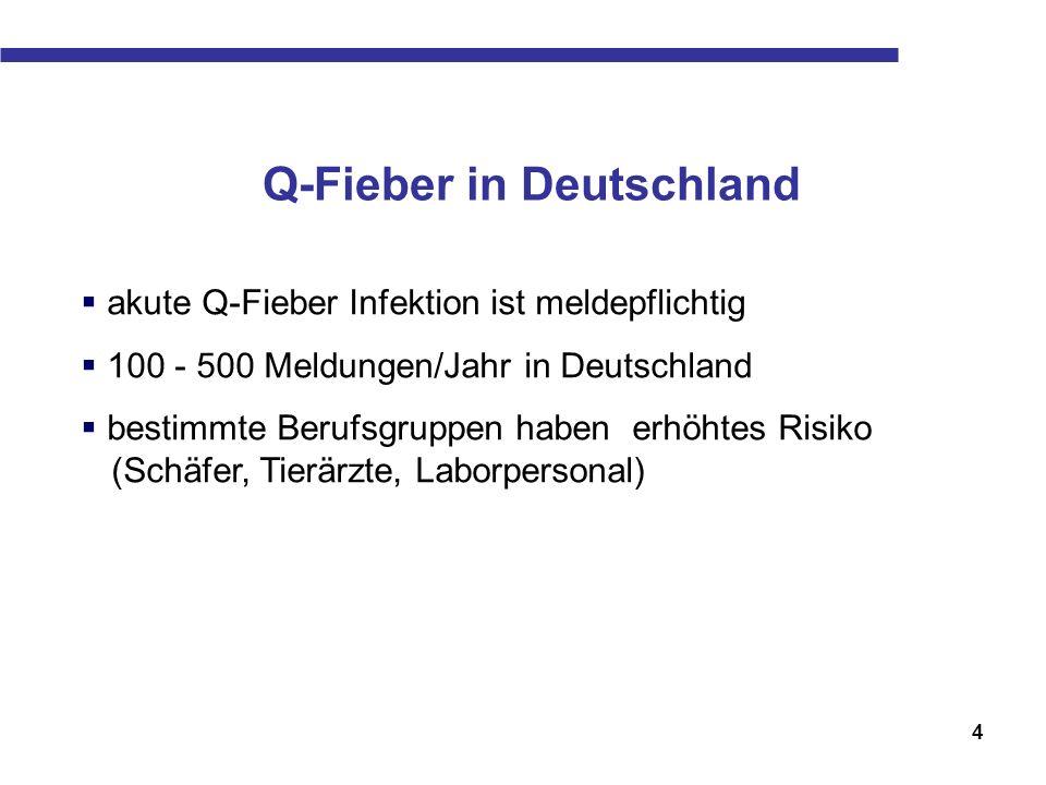 4 Q-Fieber in Deutschland akute Q-Fieber Infektion ist meldepflichtig 100 - 500 Meldungen/Jahr in Deutschland bestimmte Berufsgruppen haben erhöhtes R