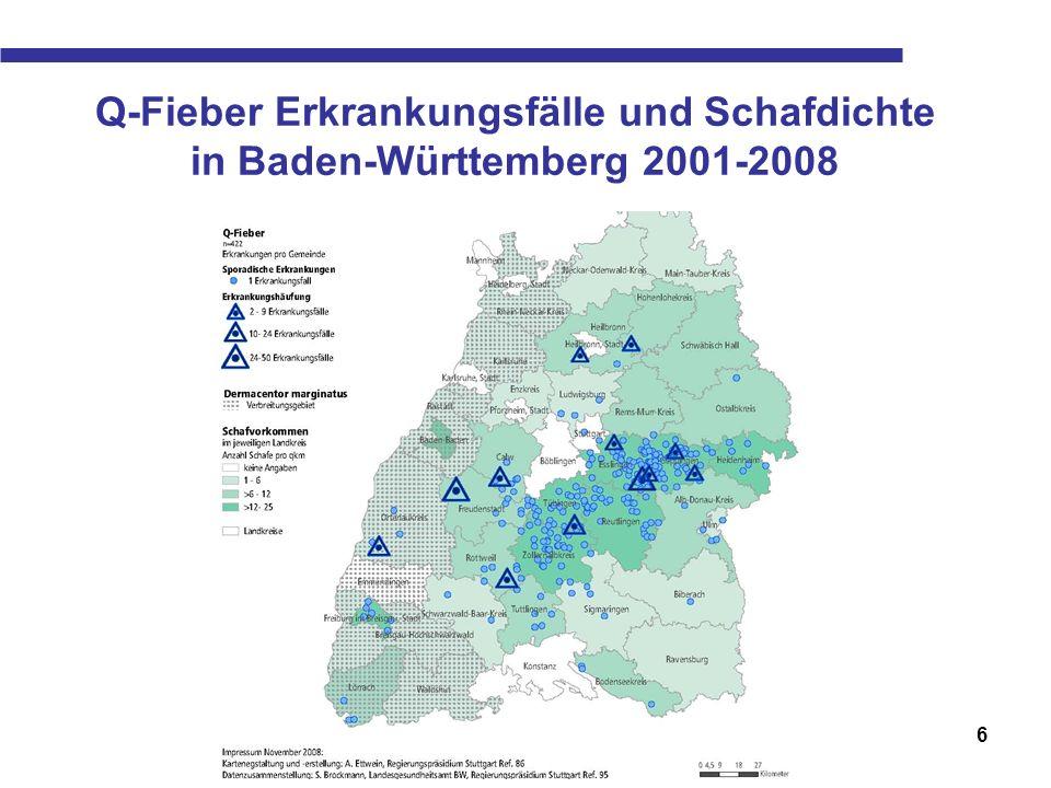 6 Q-Fieber Erkrankungsfälle und Schafdichte in Baden-Württemberg 2001-2008