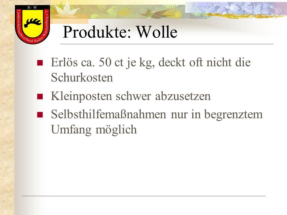 Produkte: Wolle Erlös ca. 50 ct je kg, deckt oft nicht die Schurkosten Kleinposten schwer abzusetzen Selbsthilfemaßnahmen nur in begrenztem Umfang mög