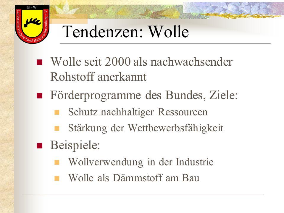 Tendenzen: Wolle Wolle seit 2000 als nachwachsender Rohstoff anerkannt Förderprogramme des Bundes, Ziele: Schutz nachhaltiger Ressourcen Stärkung der