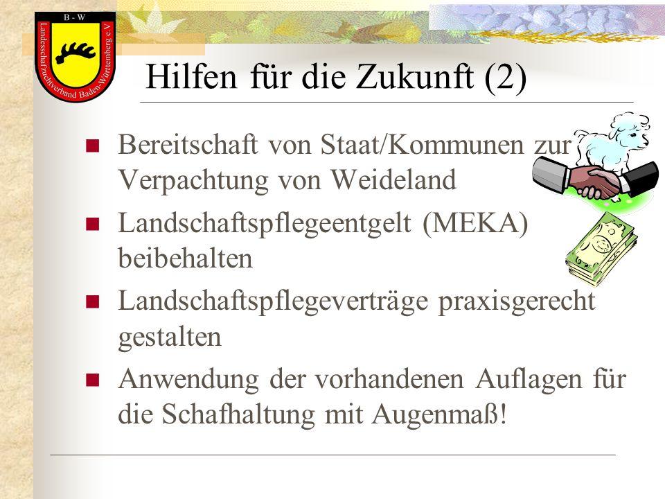 Hilfen für die Zukunft (2) Bereitschaft von Staat/Kommunen zur Verpachtung von Weideland Landschaftspflegeentgelt (MEKA) beibehalten Landschaftspflege