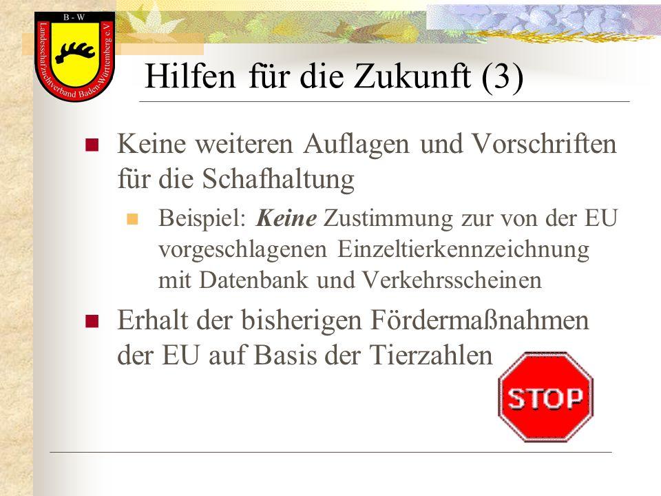 Hilfen für die Zukunft (3) Keine weiteren Auflagen und Vorschriften für die Schafhaltung Beispiel: Keine Zustimmung zur von der EU vorgeschlagenen Ein