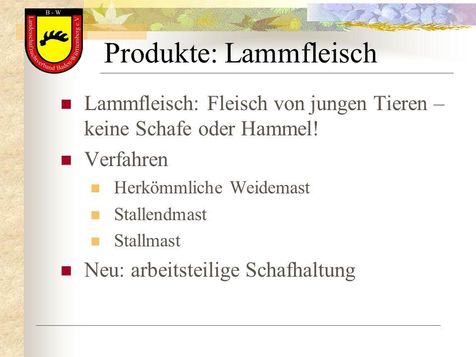 Produkte: Lammfleisch Lammfleisch: Fleisch von jungen Tieren – keine Schafe oder Hammel! Verfahren Herkömmliche Weidemast Stallendmast Stallmast Neu: