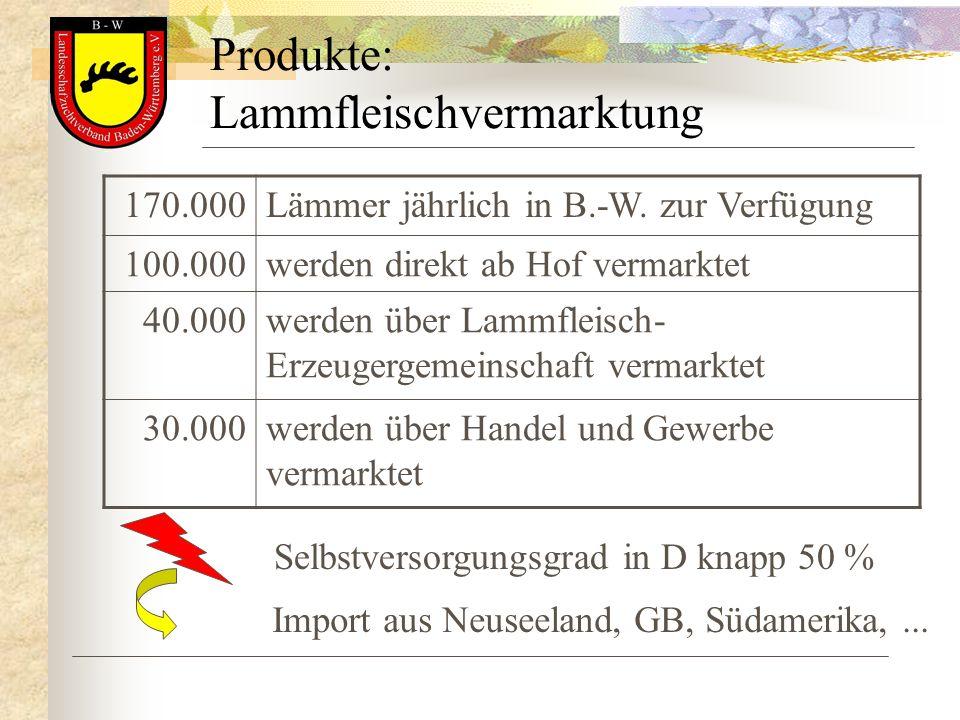 Produkte: Lammfleischvermarktung 170.000Lämmer jährlich in B.-W. zur Verfügung 100.000werden direkt ab Hof vermarktet 40.000werden über Lammfleisch- E