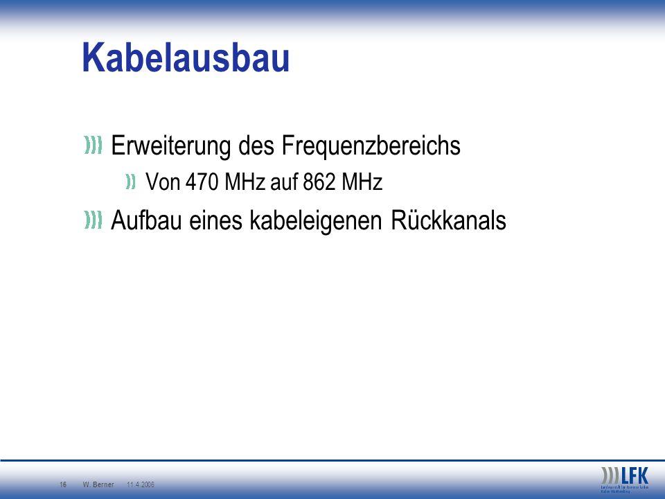 W. Berner 11.4.2006 16 Erweiterung des Frequenzbereichs Von 470 MHz auf 862 MHz Aufbau eines kabeleigenen Rückkanals Kabelausbau