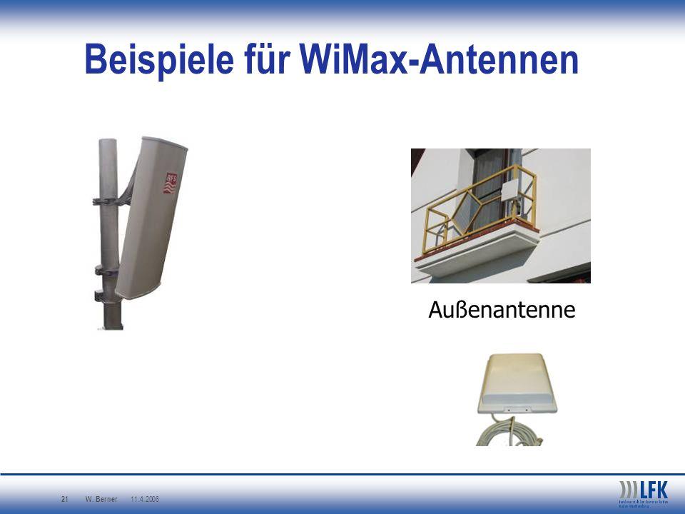 W. Berner 11.4.2006 21 Beispiele für WiMax-Antennen Außenantenne