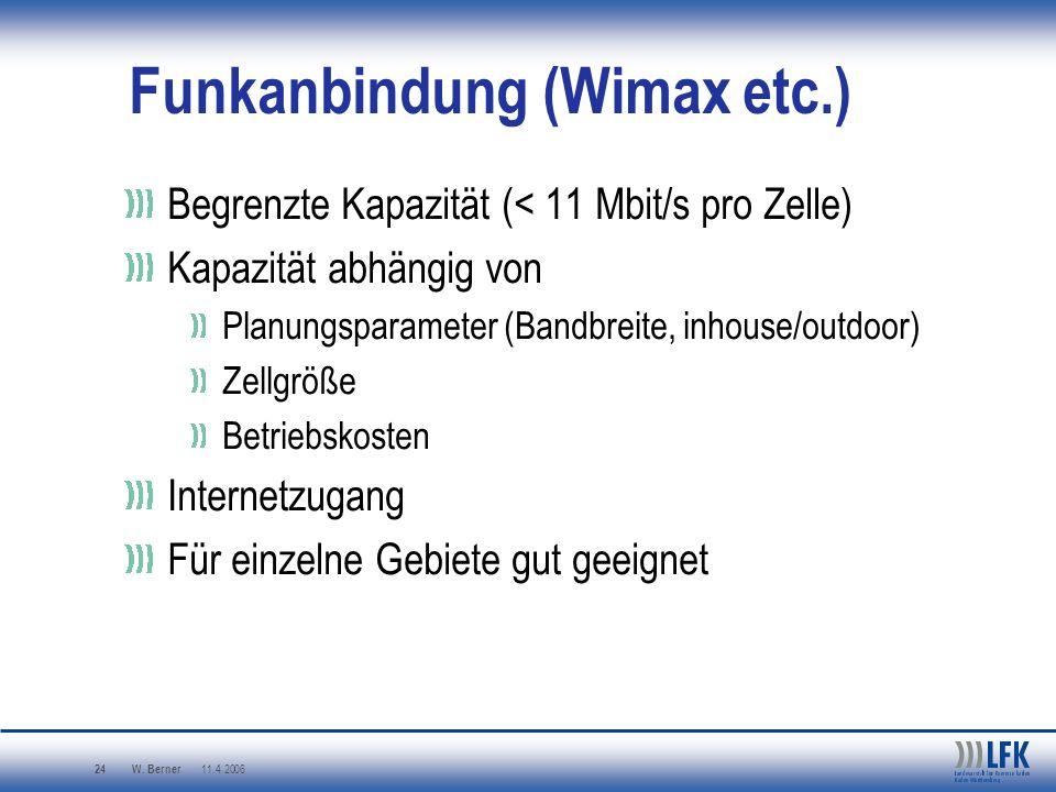 W. Berner 11.4.2006 24 Funkanbindung (Wimax etc.) Begrenzte Kapazität (< 11 Mbit/s pro Zelle) Kapazität abhängig von Planungsparameter (Bandbreite, in