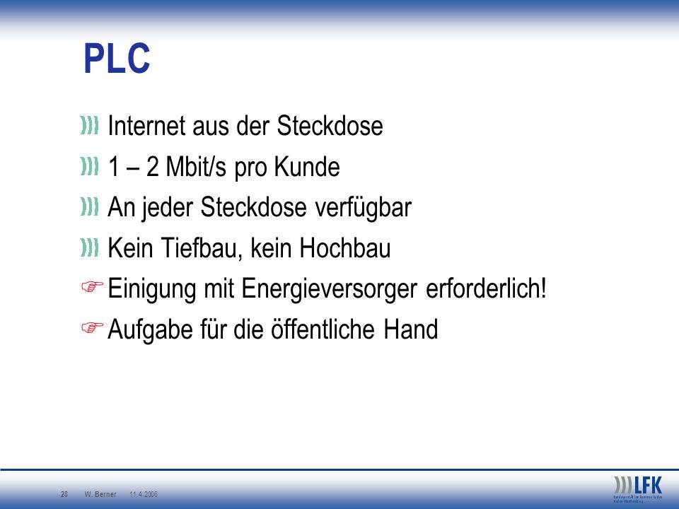 W. Berner 11.4.2006 28 PLC Internet aus der Steckdose 1 – 2 Mbit/s pro Kunde An jeder Steckdose verfügbar Kein Tiefbau, kein Hochbau Einigung mit Ener