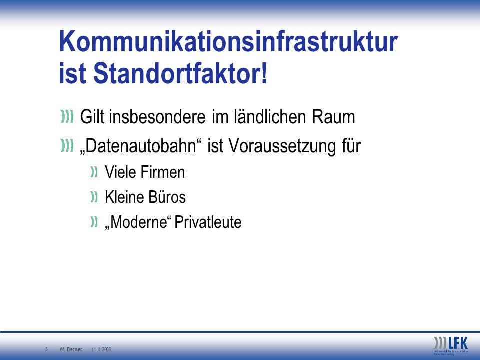 W. Berner 11.4.2006 3 Kommunikationsinfrastruktur ist Standortfaktor! Gilt insbesondere im ländlichen Raum Datenautobahn ist Voraussetzung für Viele F