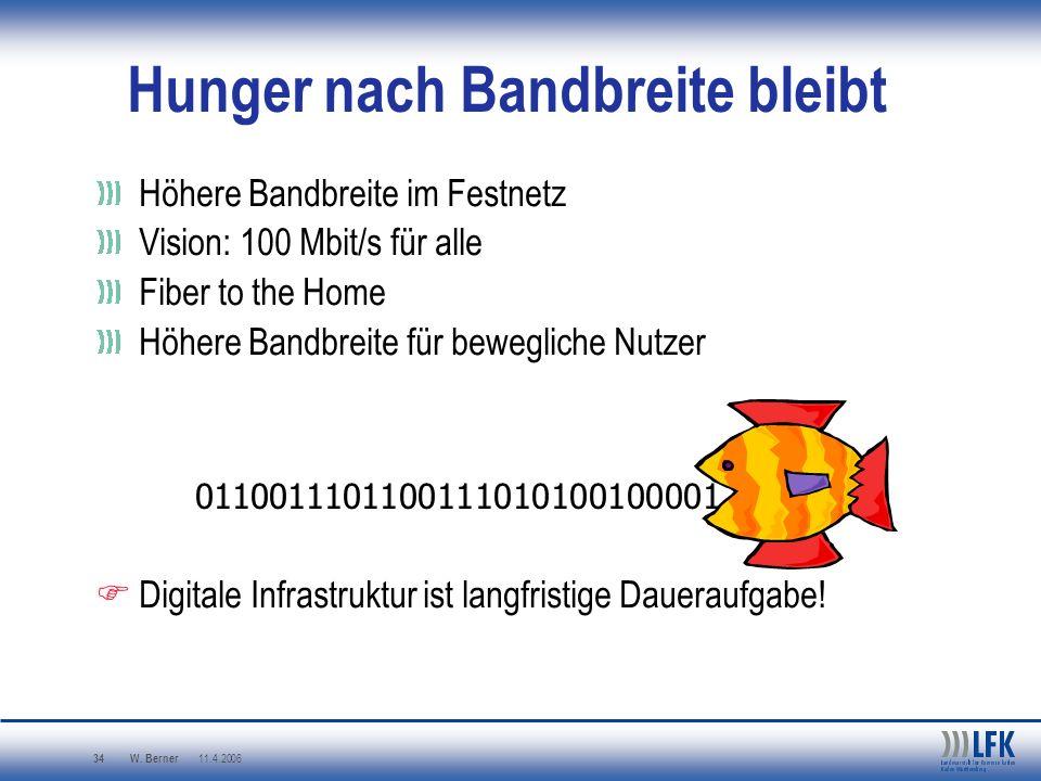 W. Berner 11.4.2006 34 Hunger nach Bandbreite bleibt Höhere Bandbreite im Festnetz Vision: 100 Mbit/s für alle Fiber to the Home Höhere Bandbreite für