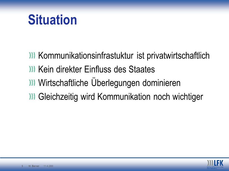 W. Berner 11.4.2006 5 Situation Kommunikationsinfrastuktur ist privatwirtschaftlich Kein direkter Einfluss des Staates Wirtschaftliche Überlegungen do