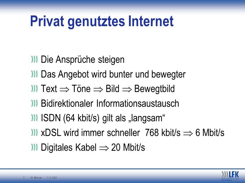 W. Berner 11.4.2006 7 Privat genutztes Internet Die Ansprüche steigen Das Angebot wird bunter und bewegter Text Töne Bild Bewegtbild Bidirektionaler I