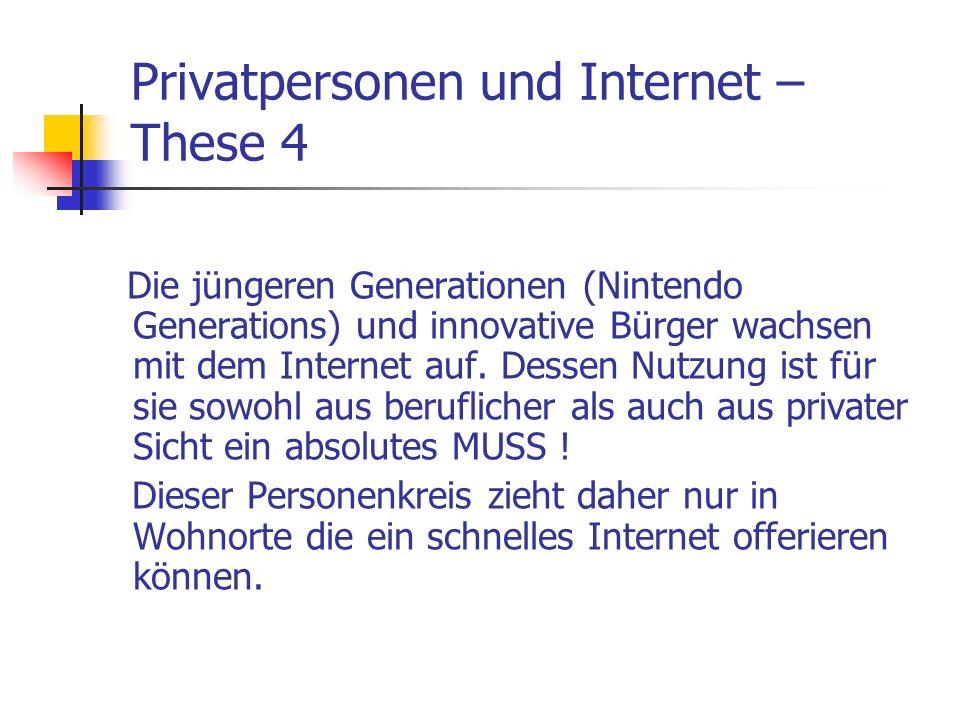 Privatpersonen und Internet – These 4 Die jüngeren Generationen (Nintendo Generations) und innovative Bürger wachsen mit dem Internet auf. Dessen Nutz