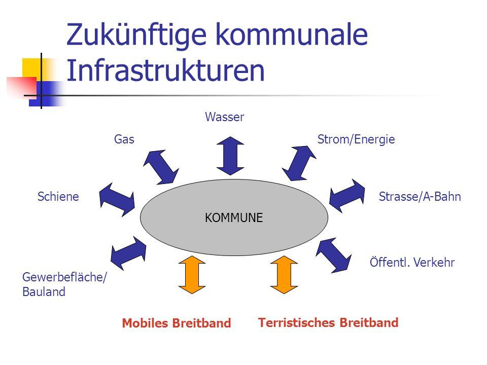 Zukünftige kommunale Infrastrukturen KOMMUNE Wasser Strom/Energie Strasse/A-BahnSchiene Gas Gewerbefläche/ Bauland Mobiles Breitband Terristisches Bre