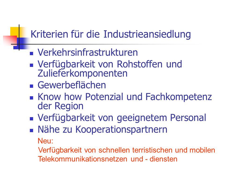 Kriterien für die Industrieansiedlung Verkehrsinfrastrukturen Verfügbarkeit von Rohstoffen und Zulieferkomponenten Gewerbeflächen Know how Potenzial u