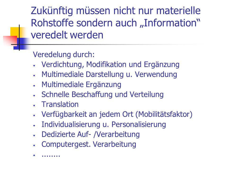 Zukünftig müssen nicht nur materielle Rohstoffe sondern auch Information veredelt werden Veredelung durch: Verdichtung, Modifikation und Ergänzung Mul