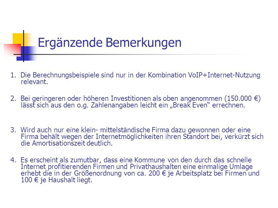 Ergänzende Bemerkungen 1. Die Berechnungsbeispiele sind nur in der Kombination VoIP+Internet-Nutzung relevant. 2. Bei geringeren oder höheren Investit