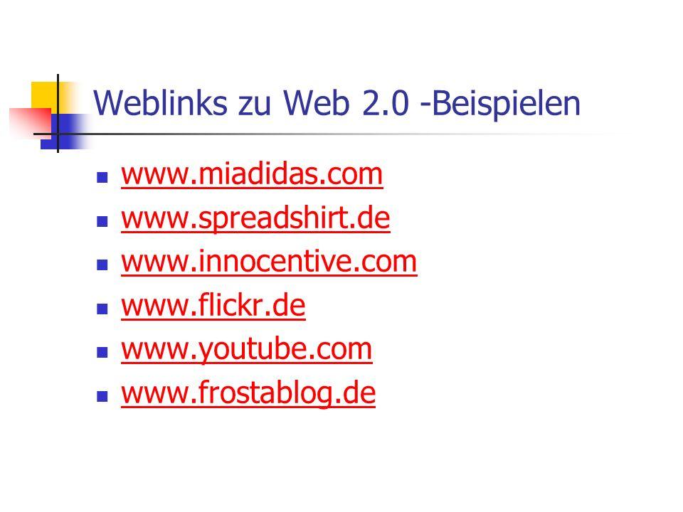 Weblinks zu Web 2.0 -Beispielen www.miadidas.com www.spreadshirt.de www.innocentive.com www.flickr.de www.youtube.com www.frostablog.de
