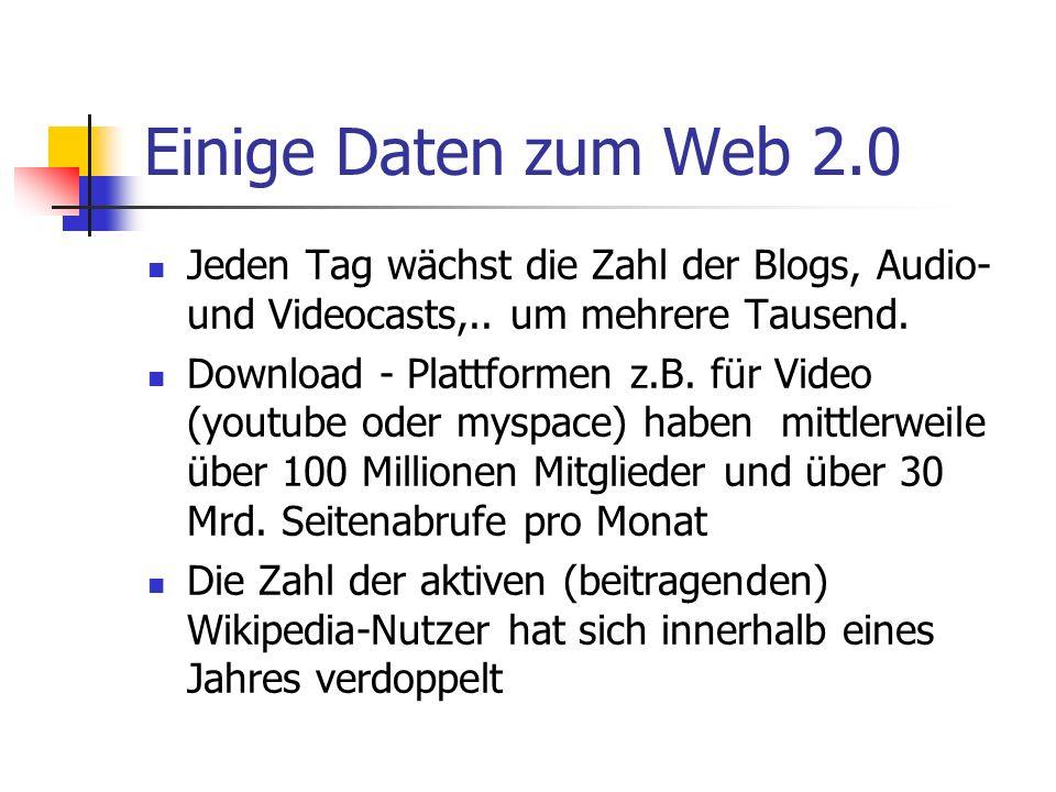 Einige Daten zum Web 2.0 Jeden Tag wächst die Zahl der Blogs, Audio- und Videocasts,.. um mehrere Tausend. Download - Plattformen z.B. für Video (yout