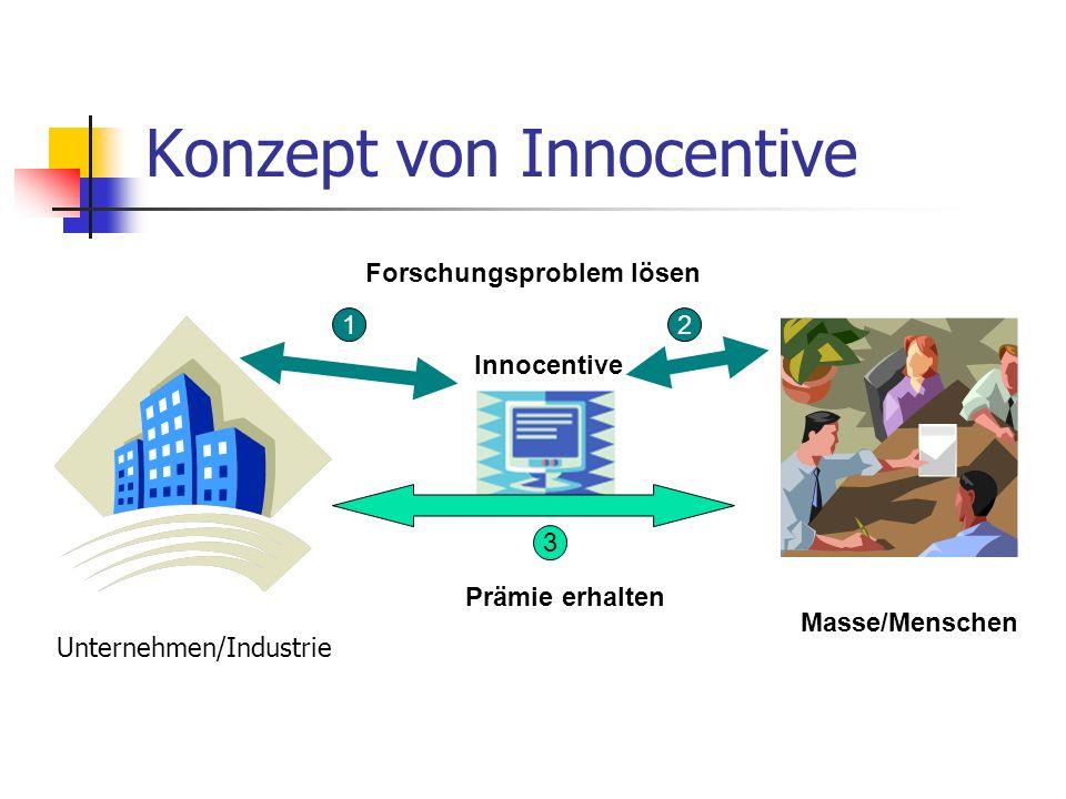 Konzept von Innocentive Forschungsproblem lösen Prämie erhalten 12 3 Masse/Menschen Innocentive Unternehmen/Industrie