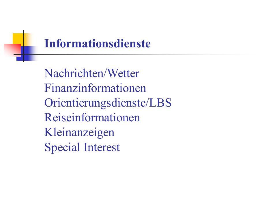 Informationsdienste Nachrichten/Wetter Finanzinformationen Orientierungsdienste/LBS Reiseinformationen Kleinanzeigen Special Interest